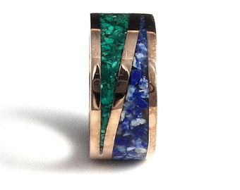 Bronze & Silver  Ring for Men, Malachite and Lapis