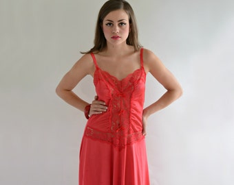 Bright Red Vintage 70s Kasara Full Slip 36 Sheer Lace Drop Waist Bows