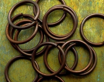 19mm Jump Rings -  10 pcs - Vintage Stock Hand Antiqued Solid Brass Open Jump Rings - Patina Queen