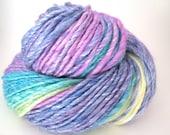 Handspun Yarn – Hand Dyed Merino/Bamboo Fiber – Worsted Weight Single Yarn – Purple, Blue, Turquoise, Green, Yellow – 135 Yards