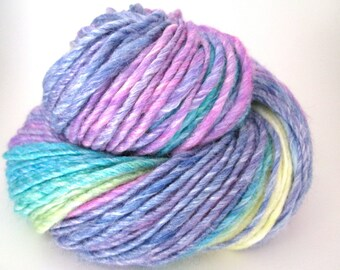 Handspun Yarn – Hand Dyed Merino/Bamboo Fiber – Worsted Weight Single Yarn – Purple, Blue, Turquoise, Green, Yellow – 135 Yards