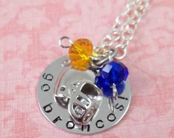 Hand Stamped Denver Broncos Necklace