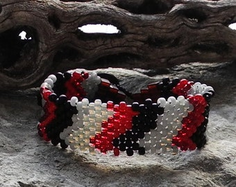 Free Form Peyote Stitch Beaded Bracelet  - Bead Weaving - Peace Bracelet - Red Black