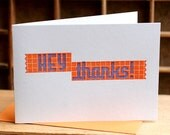 SALE Hey Thanks SET OF 6 orange and purple letterpress cards