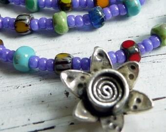 Peruvian Flower Purple Miyuki Picasso Czech Glass OOAK KHT Flower Charm Steling Silver Boho Colorful Minimalist Necklace