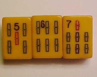 Bakelite Amber Mah-Jongg Pin Lucky 567 Jan Carlin Original