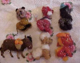 6 Beaded Poodles Beaded Animals Push pin Folk Art Grandma use to make them Mid Century