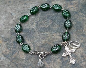 Celtic Rosary Bracelet, Czech Glass Green and Silver Shamrock Rosary Bracelet