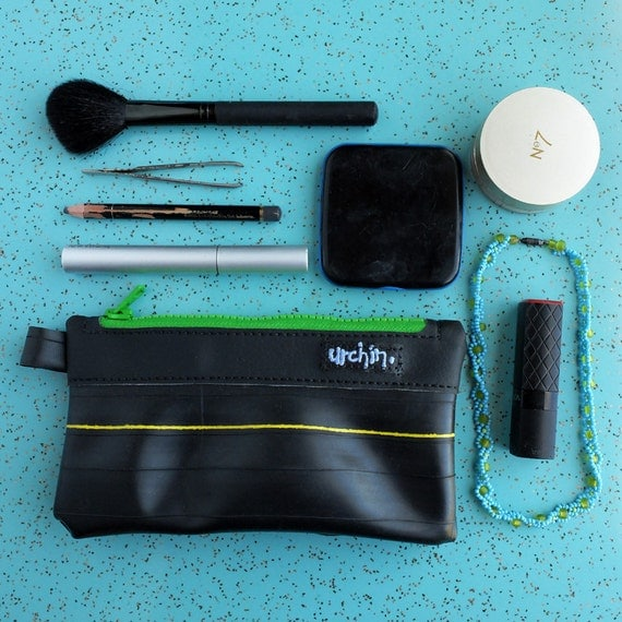 Eco friendly pouch made from recycled vinyl and bike inner tube