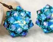 Teal Crystal Wrapped Rivoli Earrings