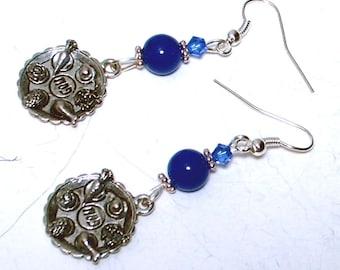 Passover Seder Plate Earrings - Blue Swarovski Crystals