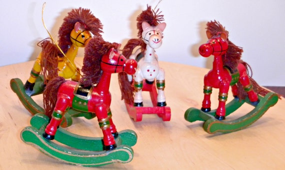 Four Vintage 1980s Russ Berrie Wooden Christmas Tree Ornaments