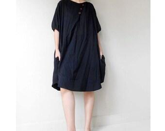 Custom made  Black  Cotton Short Boho Simply Dress Tunic Blouse S-L (H)