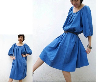Custom Made Blue soft Cotton  Boho Loose Pleats   Maxi Tunic  Dress S-L  (H)