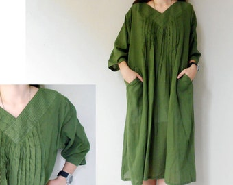 Custom Made Green Cotton V  Neck Little Pleats Loose Tunic Boho Summer Dress (H)