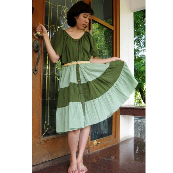 Boho Loose Green Cotton Patchwork Tunic Dress  S-L (T 15)