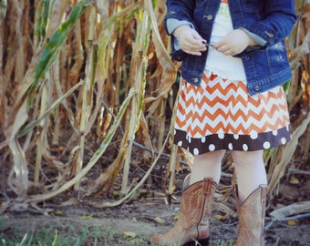 Girls Skirt Twirl Skirt Fall skirt Chevron Skirt Orange and Brown Autumn skirt UT toddler skirt girls dress Kids Clothes