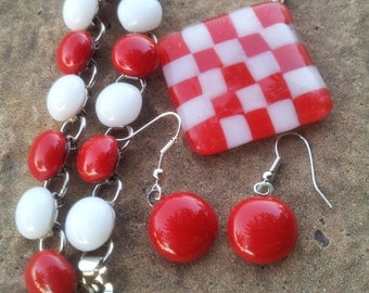 Red Checkered Fused Glass Pendant And Set