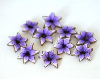 Purple Lily Beads, Polymer Clay Beads, Lavender Flower Beads 10 Pieces