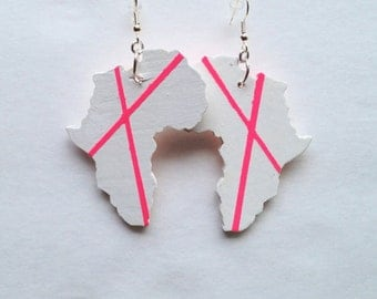 Africa Earrings White with Neon Pink Modern Stripes African American Urban Art Pop Art Afrocentric Jewelry