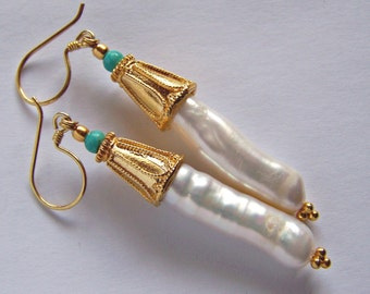 HUGE Freshwater Pearl Natural Turquoise Earrings Gold vermeil, primitive royal style, boho rustic long large rare white blue unique, linear
