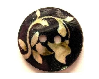 Shell button,  black with floral ornament, round, 23mm in diameter, beautiful button