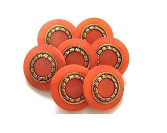 6 Vintage buttons orange plastic with metal trim 15mm, metal shank