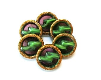 6 Vintage glass buttons, moonglow antique vintage in green with back violet and gold color circle 23mm