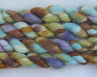 Handpainted Roving -- Blue Face Leicester Wool/Silk