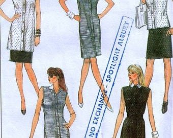 Knit Fabrics Dress Tunic Top Skirt and Pants Easy Sewing Pattern 1980s Simplicity 8551 Medium sizes