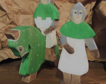 Waldorf Green Knight with Charger and Squire.3 pc wooden toy