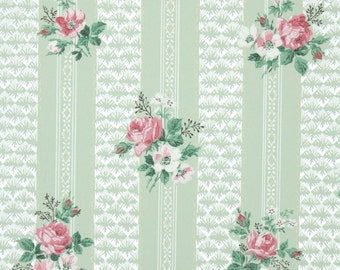 1940s Vintage Wallpaper by the Yard - Floral Wallpaper with Pink and White Roses on Pale Green Stripes