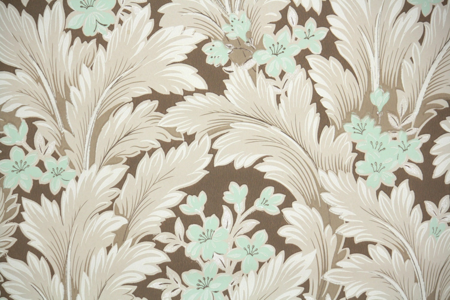 1950s vintage wallpaper by the yard mint green flowers and