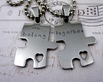 Puzzle Piece Couples Necklace  Set - Hand Stamped Custom - His & Hers - We Belong Together- Fiance BFF Boyfriend Husband Partner Fathers Day