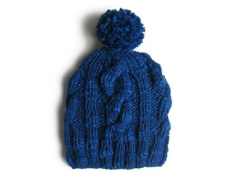 Royal Blue Beanie, Chunky Knit Hat, Fashion Accessories, Womens Beanies, Pom Pom Hat, Bobble Hat, Hand Knit Hat, Cables Beanie, Pompom Hat