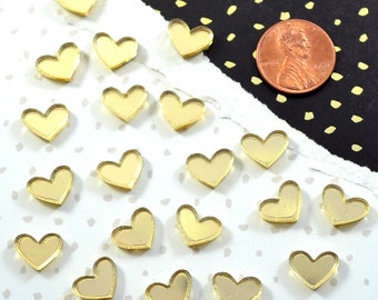 GOLD MIRROR HEARTS - Set of 20 Cabochons in Laser Cut Acrylic