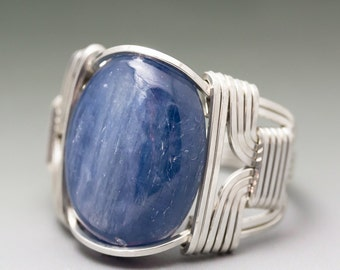 Blue Kyanite Cabochon Sterling Silver Wire Wrapped Ring - Made to Order and Ships Fast!