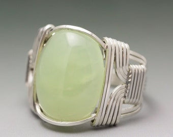 New Jade Cabochon Sterling Silver Wire Wrapped Ring - Made to Order and Ships Fast!
