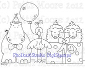 Hippo Hurray Birthday - Instant Download Digital Stamp