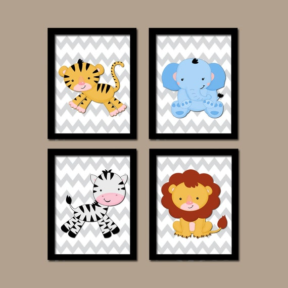 Baby Boy Nursery Wall Art BOY Safari Animals Wall Art Boy Animal