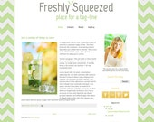 Instant Download Premade Blogger Template Theme Design - Freshly Squeezed Chevron Yellow Green