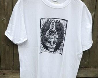 Winged Skull - Men's Tshirt on White - Size Large
