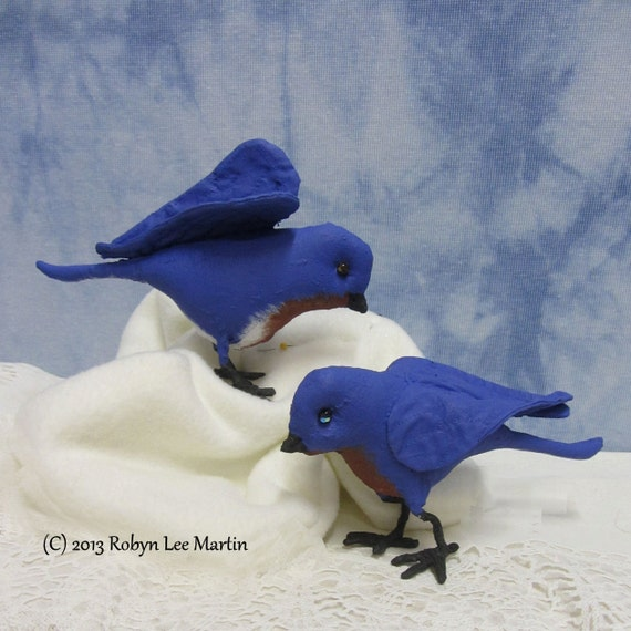RESERVED cheesynquackers -- Pair of Bluebirds, Soft Sculpture