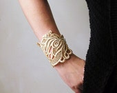 lace bracelet cuff -LORRAINE-  ivory - cream - floral - statement jewelry - bride -vintage style - gift for women