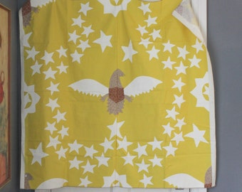 vintage 70s funky eagle fabric - americana - stars - great for wall art