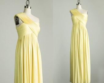 70s Vintage Golden Goddess Maxi Dress / Small / Medium