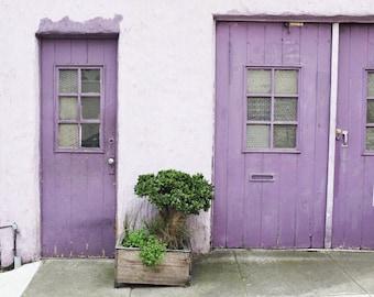 San Francisco wall art / purple door / house photograph / green gray / pastel lavender lilac / architecture windows / 11x14  'Purple House'