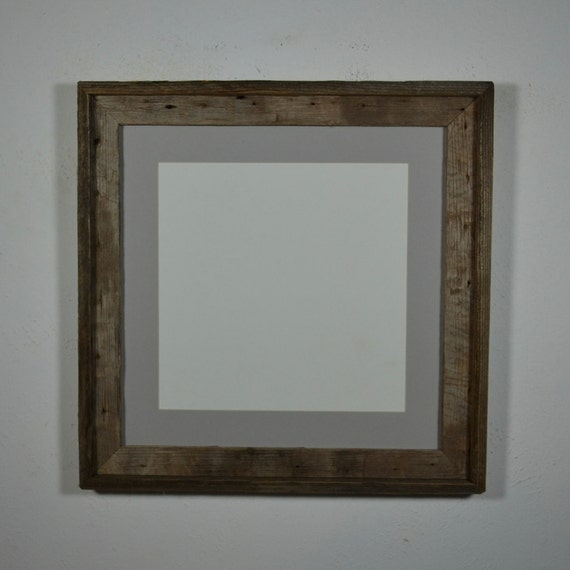 16x16 Photo Frame Repurposed Wood With Gray 12x12 Mat