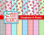 Pastel Gingham and Roses Digital Paper - Scrapbook Paper in Pale Pastels - for invites, card making, digital scrapbooking