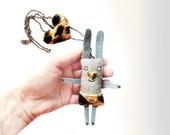 Leopard print - Bunny necklace - Animal jewelry